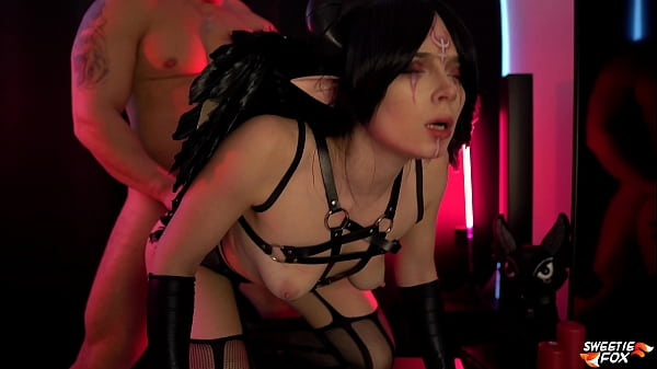 Succubus Deep Sucking Dick Muscular Guy and Doggystyle Fucking - Creampie