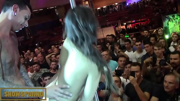 Teen babe brunette fucking on stage