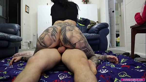 My BIG TIT Fake FAT ASS Step MOM Fucks Me HARD Cowgirl Position On The Dirty FLOOR Then Takes a Load of CUM on Her Leg - Melody Radford