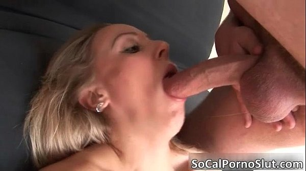 Awesome blonde babe blows stiff rod