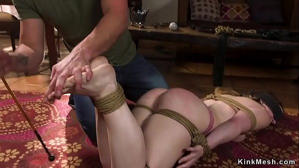 Husband fingers asshole to bound wife