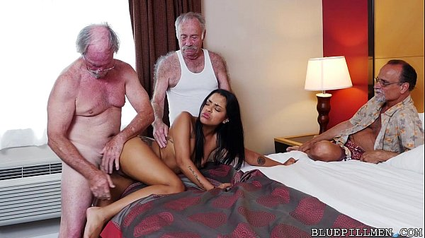 Blonde gangbang old staycation with a latin