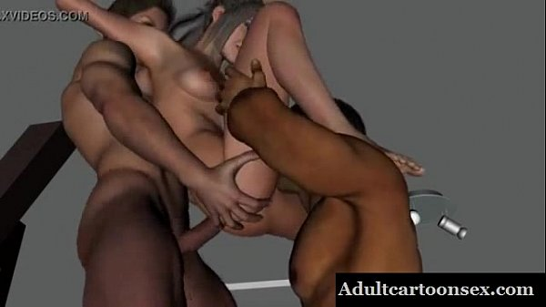 Sexy 3D cartoon brunette taking on two hard cocks