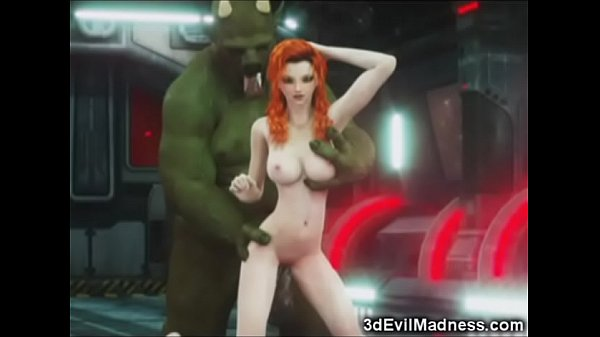 3D Redhead Ruined by Alien Monster