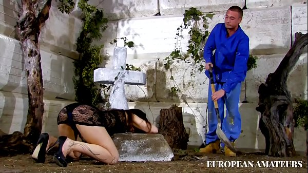 A beautiful widowed girl gets fucked pussy and ass in front of her husband's grave