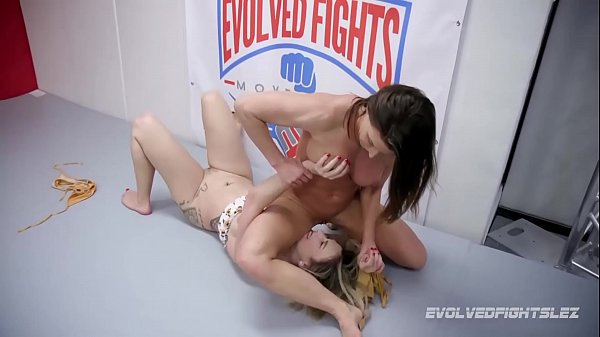 Ariel X lesbian wrestling vs Red August with strapon fucking for loser
