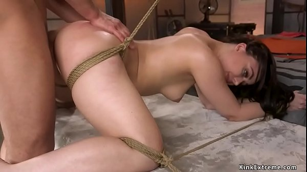 Super hot tied babe gets anal fucked