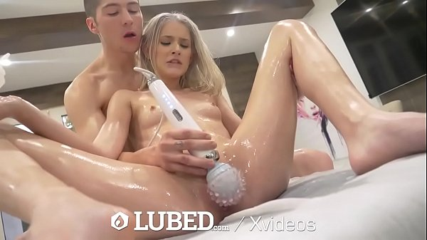 LUBED Drenched Petite Blonde Opens Legs And Lips For Dick Thumb