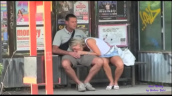At the bus stop, the slut really wants to fuck with a stranger