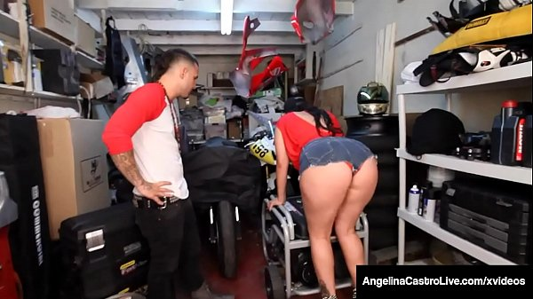 Curvy Cuban Export Angelina Castro Blows Hard Grease Monkey! Thumb