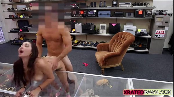 Brunette busty College babe Fucked inside the pawn