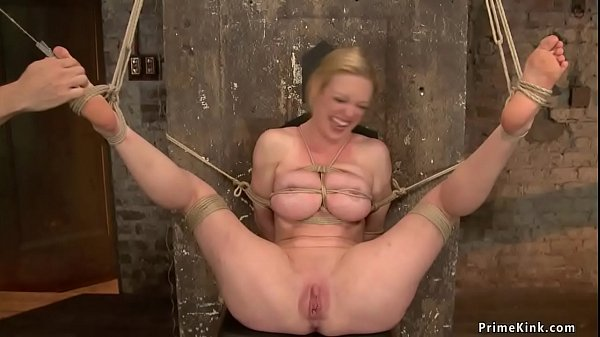 Big tits blonde gets whipped in bondage