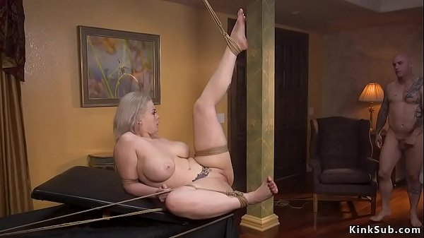 Busty tied up secretary banged in bondage