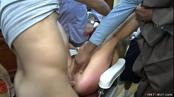 Tied blonde anal fucked in public shop