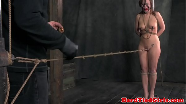 Crotch roped nipple clamped sub punished