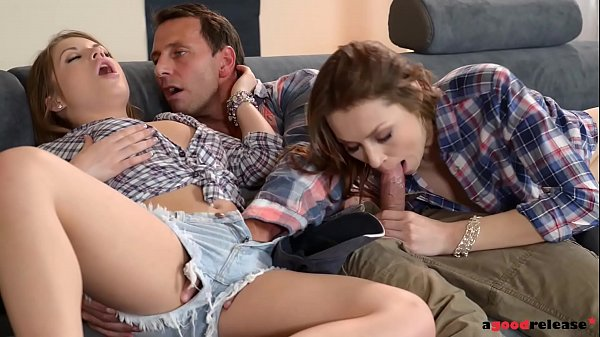 Horny college roomates Alessandra & Macy 1st time Threesome Thumb
