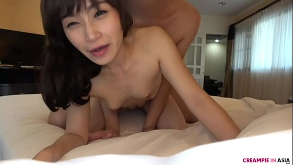 Bareback creampie with Asian MILF