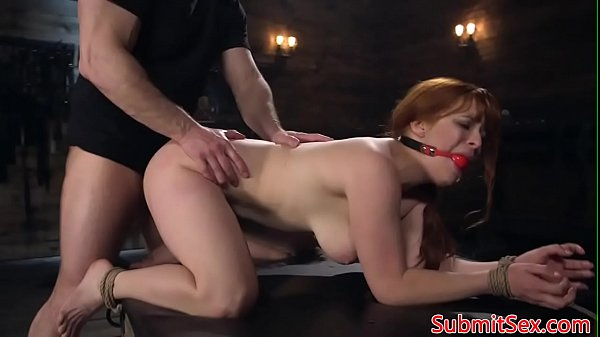 Ginger bdsm sub restrained for pussy pounding Thumb