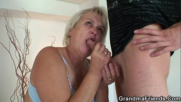 Two friends bang cleaning granny