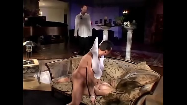 Bald millionaire wanted to spend his wedding night with full-chested blonde beuaty Vicky Vette when he found out that she throwed a bop into his y. brother