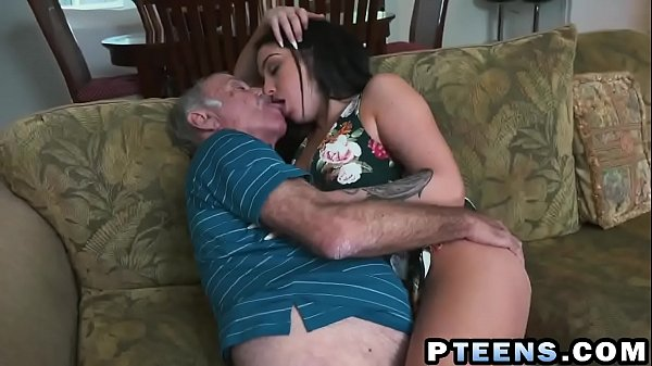 A slutty young brunette prostitute takes care of a horny grandpa's dick
