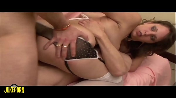 Threesome with a pretty brunette with a hairy pussy, double penetration Thumb
