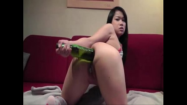 Horny Asian Girl Puts Beer Bottle in Asshole - Check for more at 69porncams.com