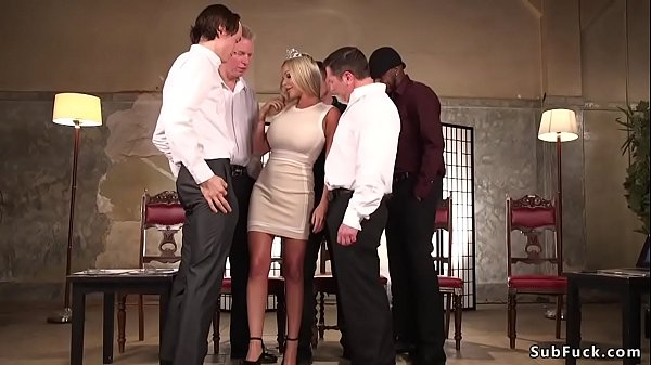 Busty blonde Miss America is dp fucked