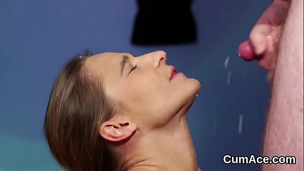 Horny looker gets cum shot on her face swallowi...