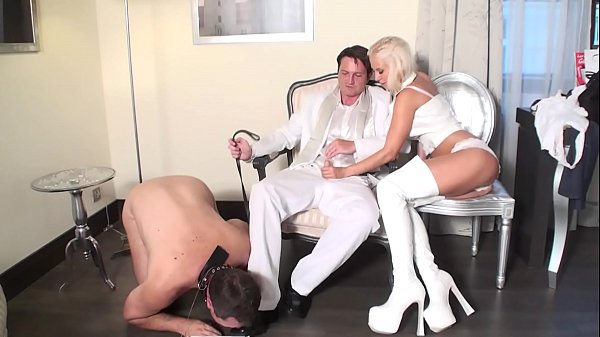 Bitches jerks dick in front of cuckold
