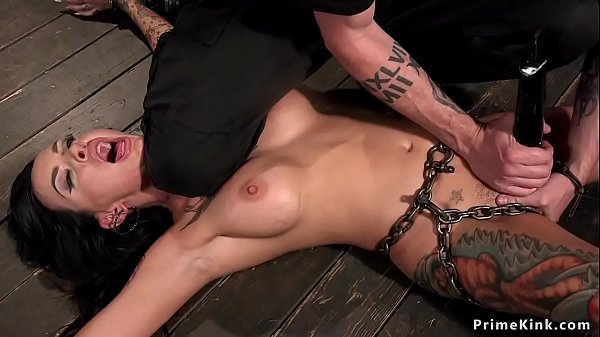 Shackled busty alt babe fucked with toy