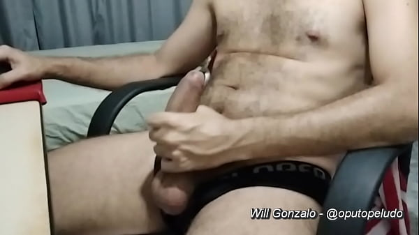 Watching porn and jerking off in black briefs