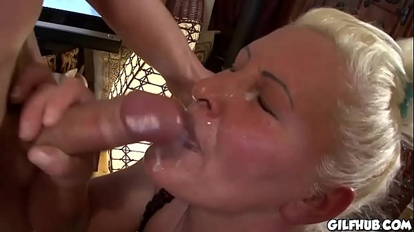 Fat granny watch porno flicks and gets fucked by stud
