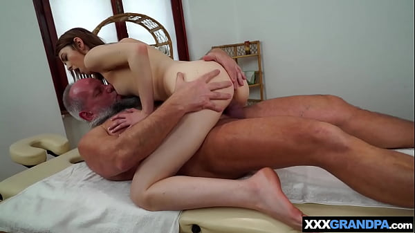 Dirty old masseur oiled and fucked a cute inked...