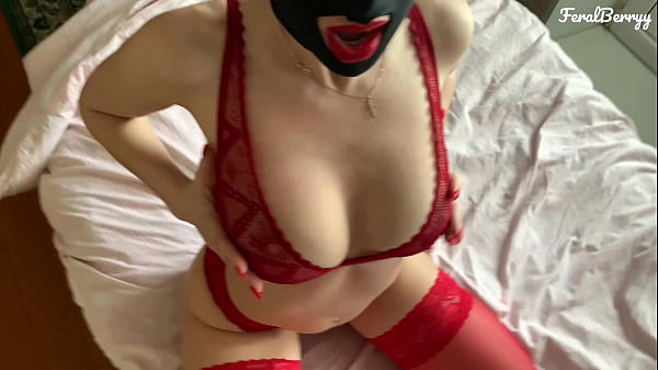 Amateur blowjob and ass fuck in a nylon mask and with red lips/FeralBerryy Thumb