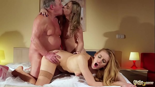 Old young threesome deepthroat cumshot for two lesbians that fuck the same old man