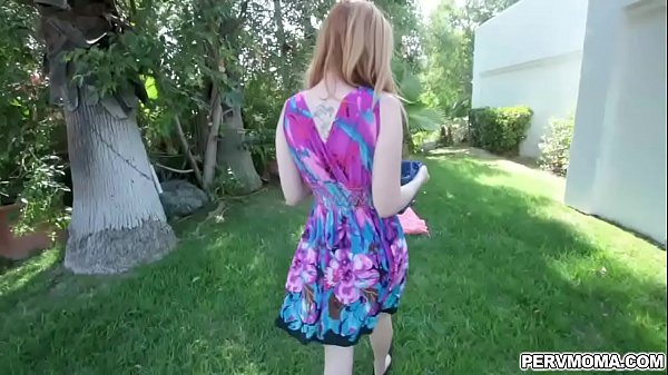 Redhead mom gives stepson some attention and giving him a blowjob!