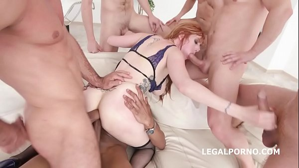 7on1 Double Anal Gangbang with Busty Redhead La...