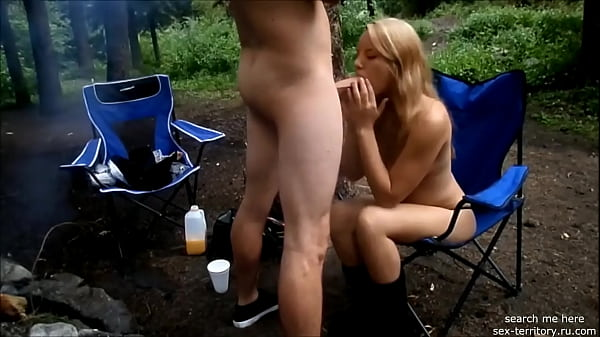 girl sucks in the forest and swallows Thumb
