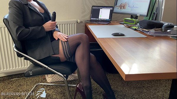 business woman dildo play in home office, Business Bitch Thumb