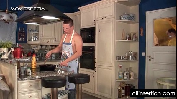 Nasty housekeeper working two dildos and a cock