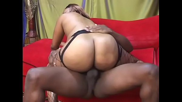 Big black ass in fishnets bounces her pussy on ...