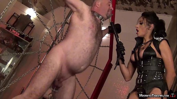 Bound male slave twists and jumps to cock torment Thumb