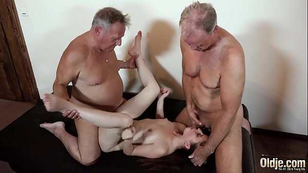 Old men put their cocks inside a young pussy an...