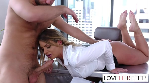 Employee footjob in corner office of boss Brooklyn Chase
