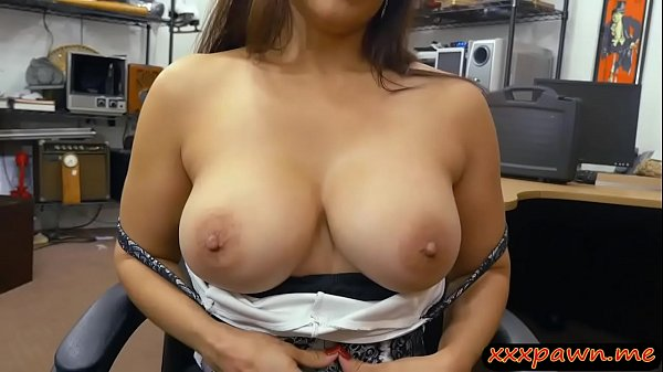 Busty woman gives a blowjob and fucked by pawn keeper