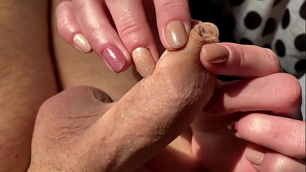 Limp and Hard Dick Foreskin play until he cum shoot