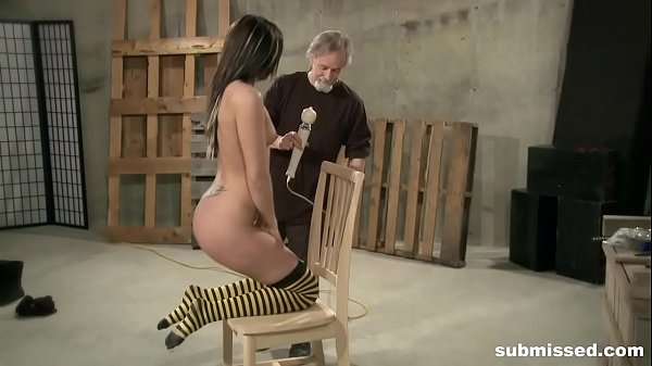 Teen gets her ass spanked by master and orgasms with dildo Thumb