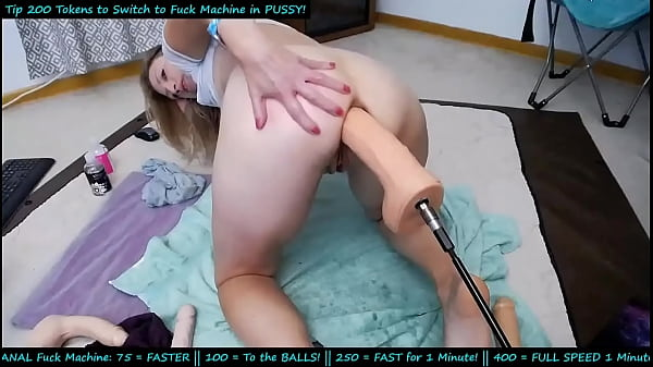 huge dildo on fuckmashine in her ass ( warning video has some lags)
