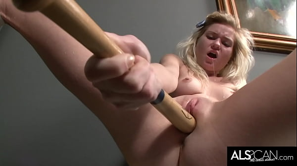 Tiny Tits Blonde Gets Off in Locker Room with Baseball Bat and Vibe
